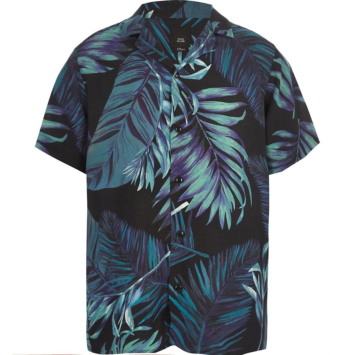 Marineblaues Kurzarmhemd mit Blätterprint