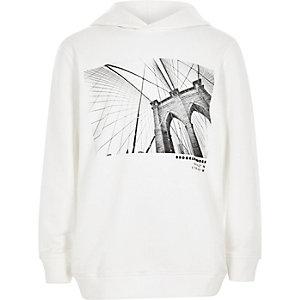 Witte hoodie met 'Brooklyn bridge'-print voor jongens