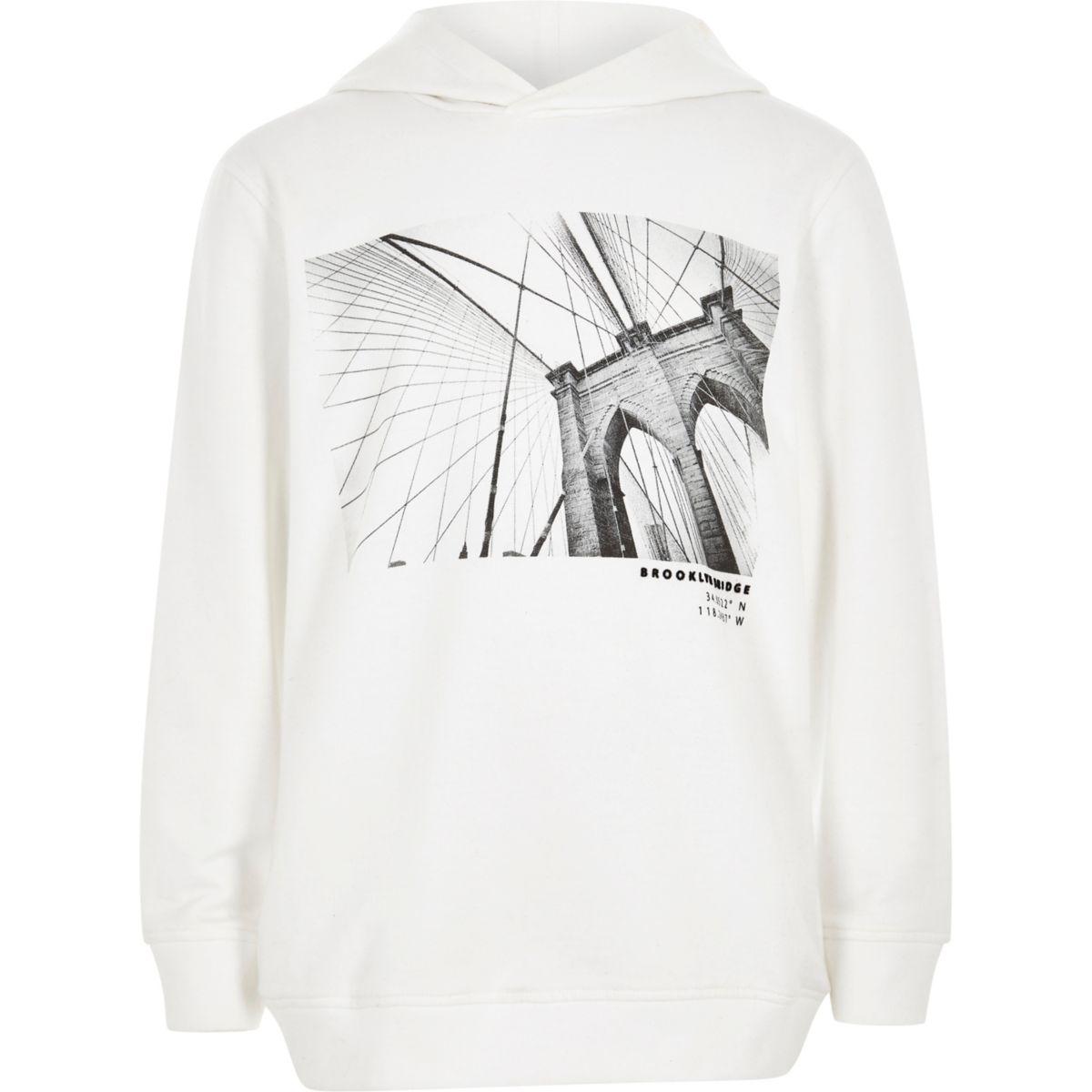 Boys white 'Brooklyn bridge' print hoodie