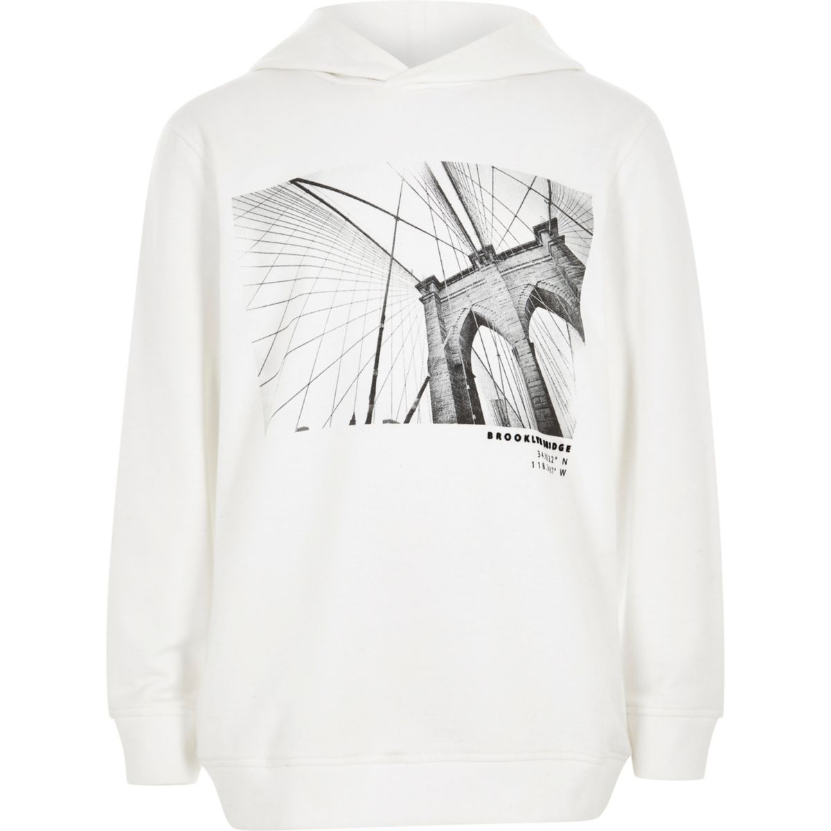 Boys white 'Brooklyn bridge' print hoodie