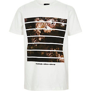 T-shirt imprimé boîte à fleurs blanc pour garçon