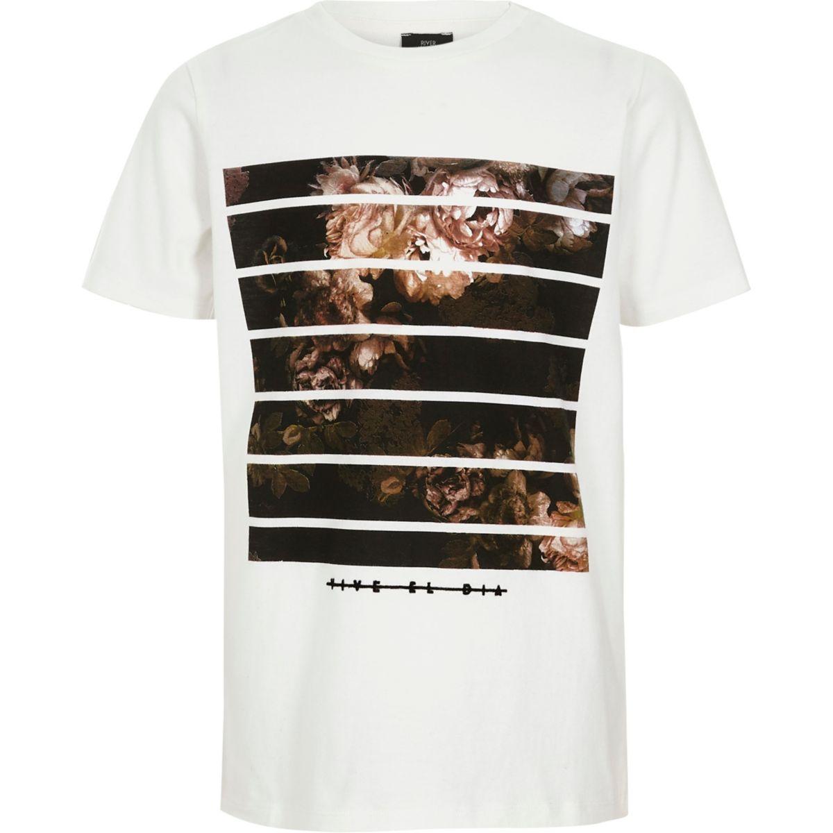 Boys white floral box print T-shirt
