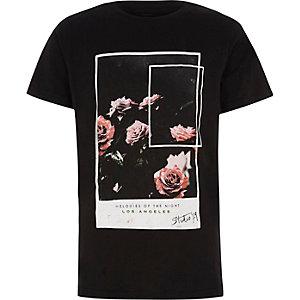 Zwart T-shirt met fotografische rozenprint voor jongens