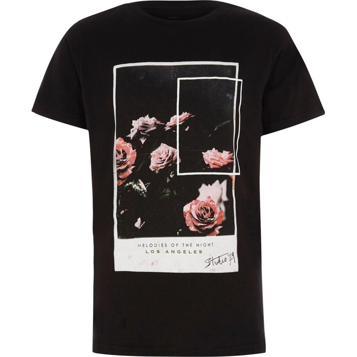 Boys black rose photographic T-shirt