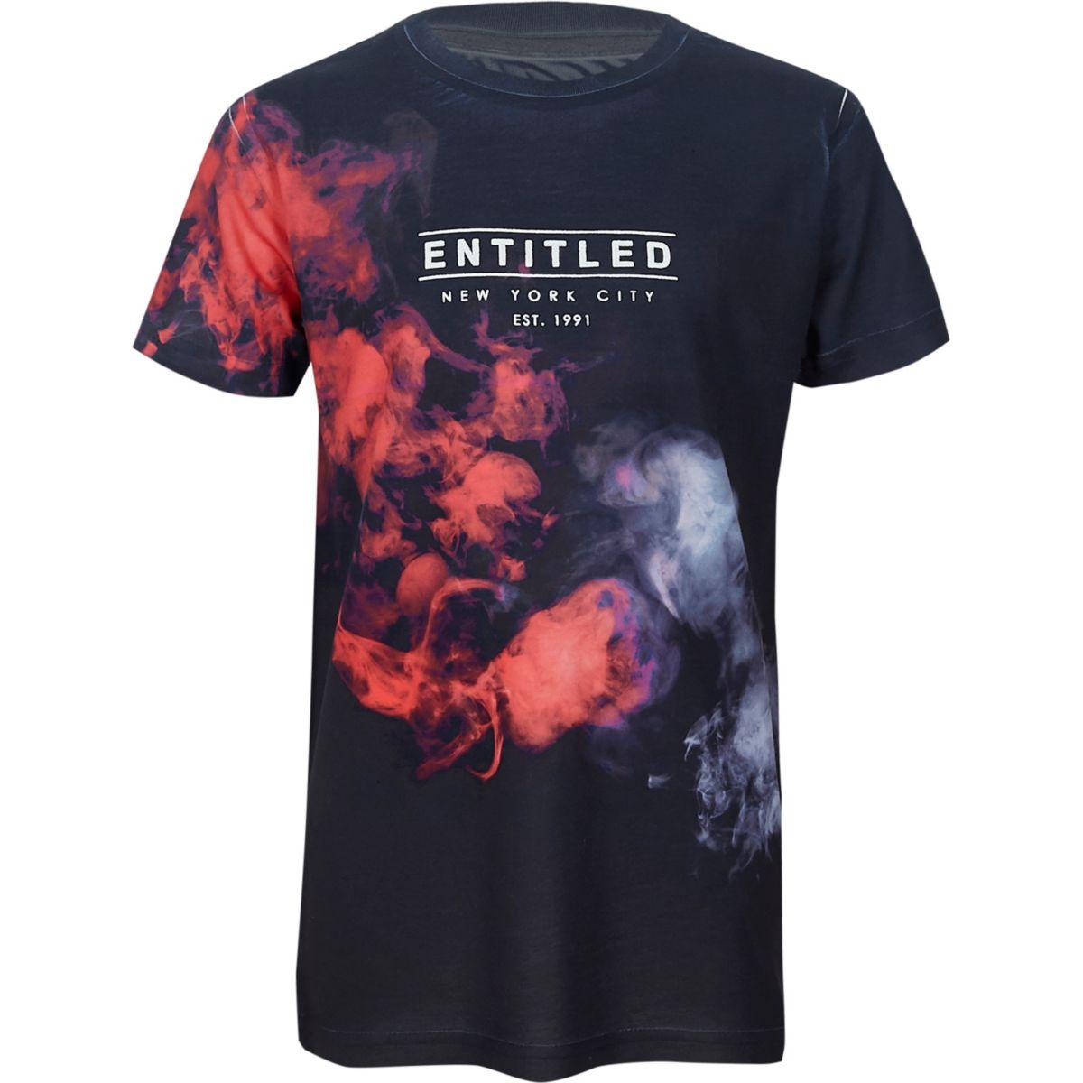 Boys blue smudge fade print T-shirt
