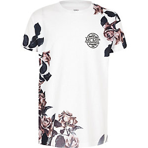 Boys white 'MCMXC' rose print T-shirt
