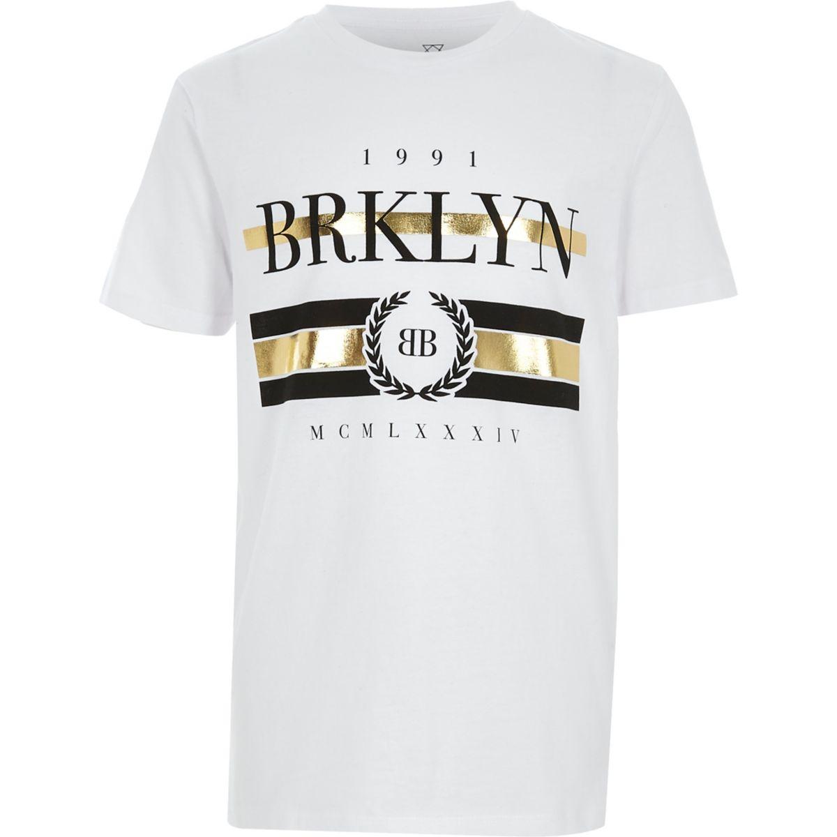 Boys white 'Brooklyn' foil print T-shirt