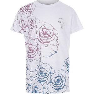 Geblümtes T-Shirt in Pink und Blau