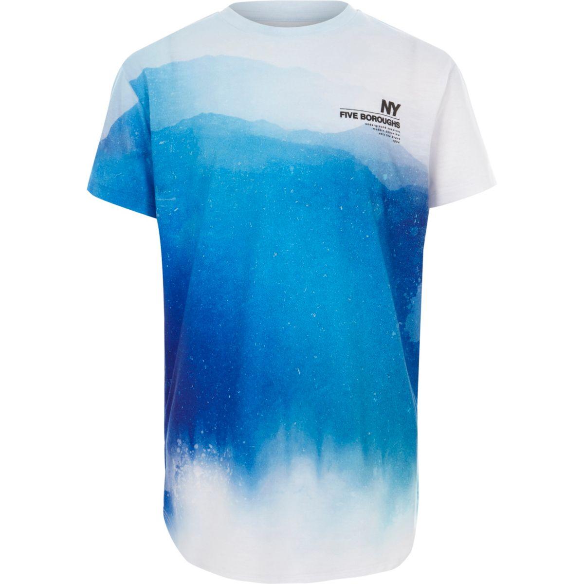Boys blue fade 'NY' curved hem T-shirt