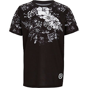 Zwart T-shirt met bloemenprint voor jongens