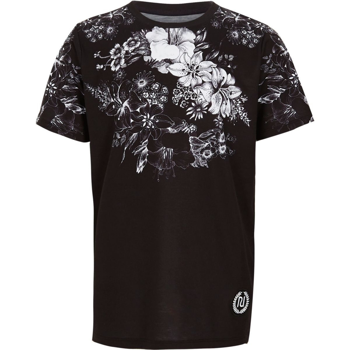 Boys black floral print t shirt t shirts t shirts for Black floral print shirt