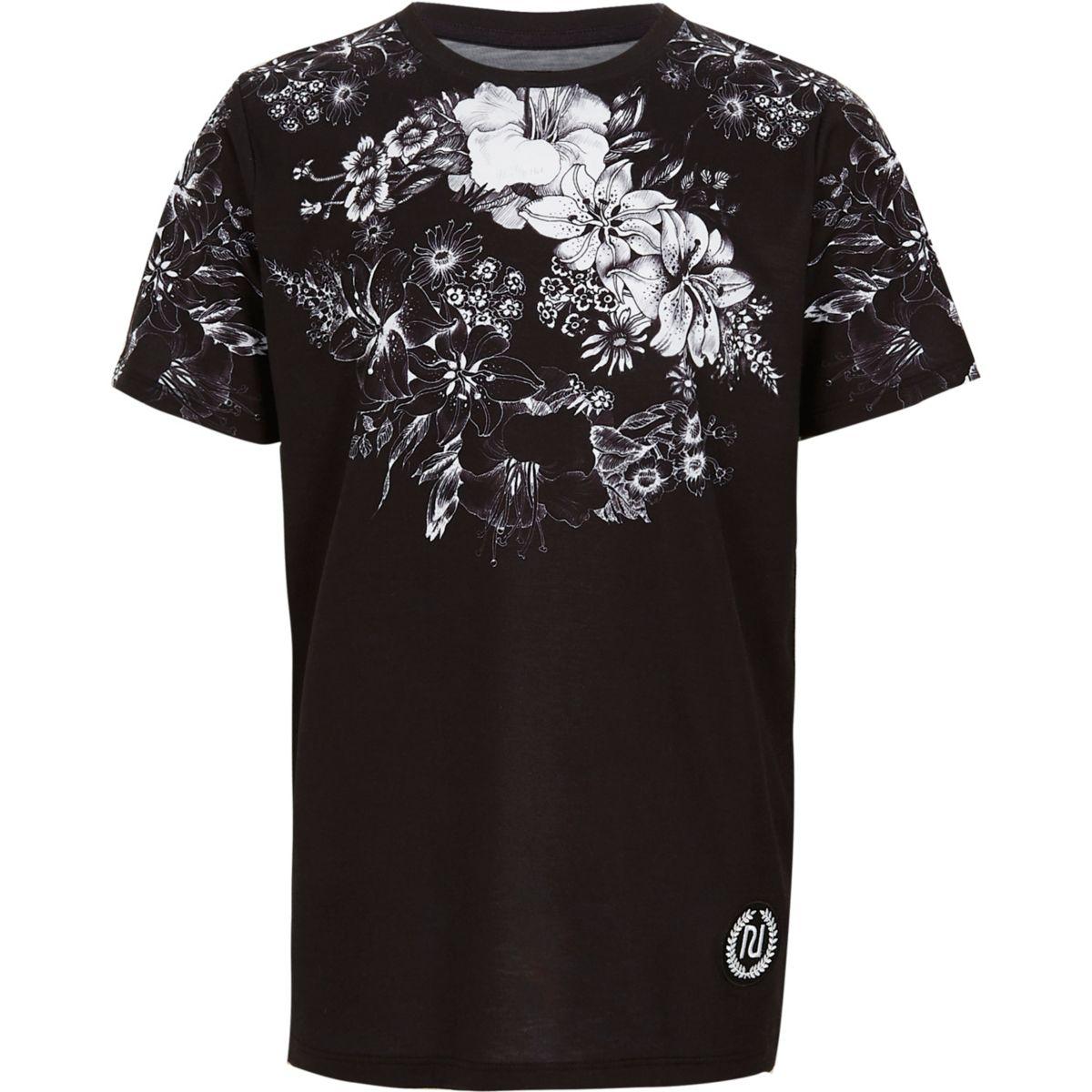 T-shirt à fleurs noir pour garçon