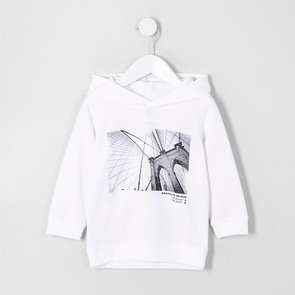 Mini boys white 'brooklyn bridge' hoodie