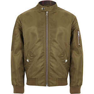 Boys khaki racer neck bomber jacket