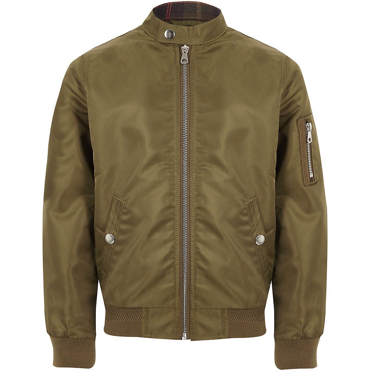 Boys khaki racer neck bomber jacket