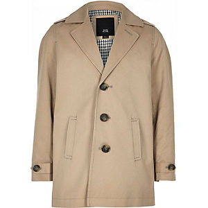 Boys brown lined lightweight mac