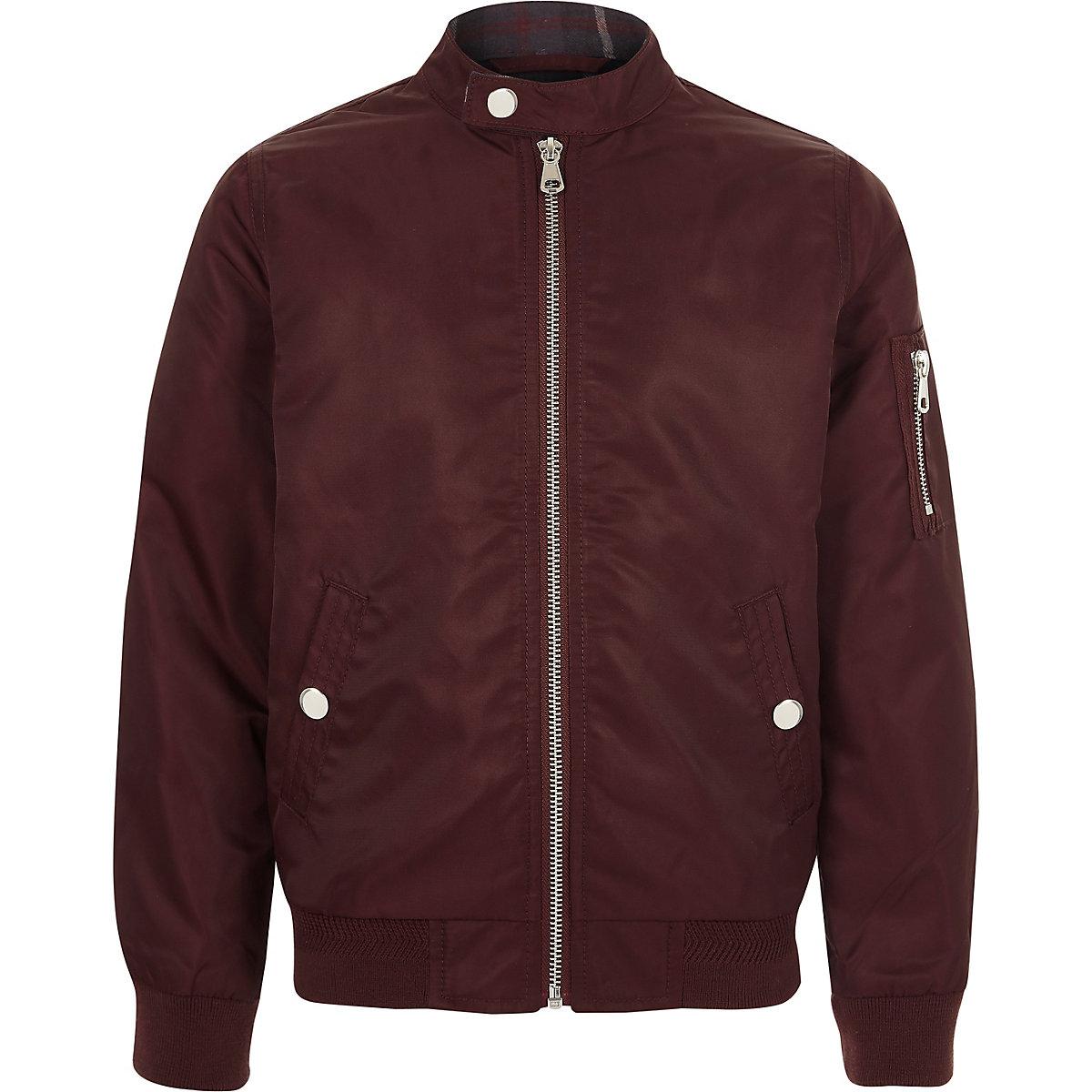 Boys dark red racer neck bomber jacket