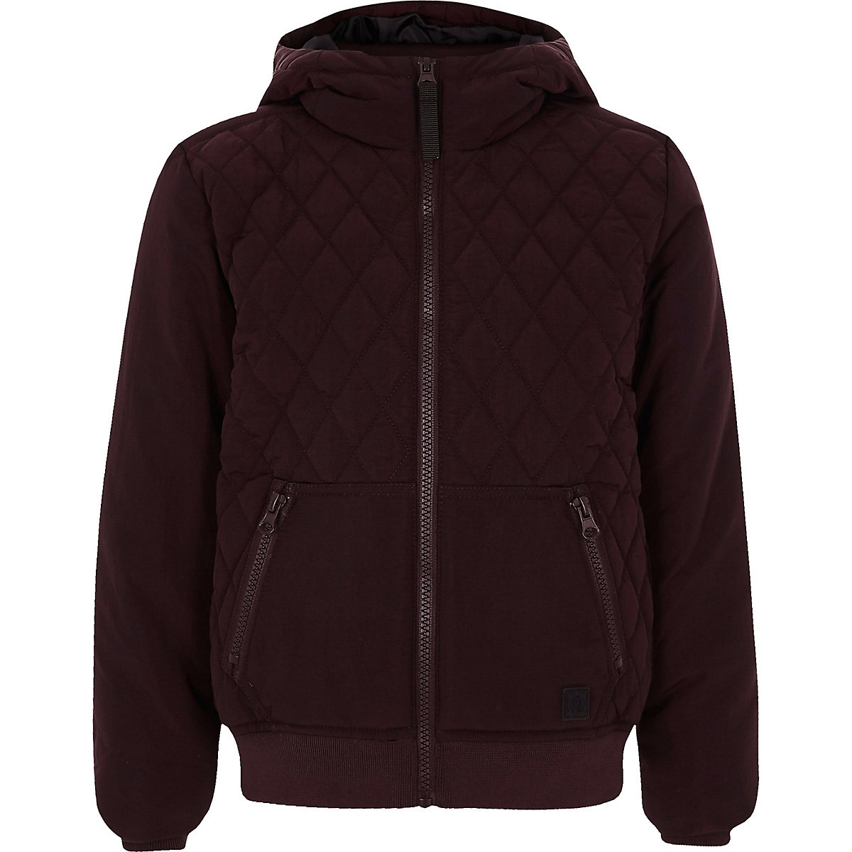 Boys dark red quilted hooded jacket