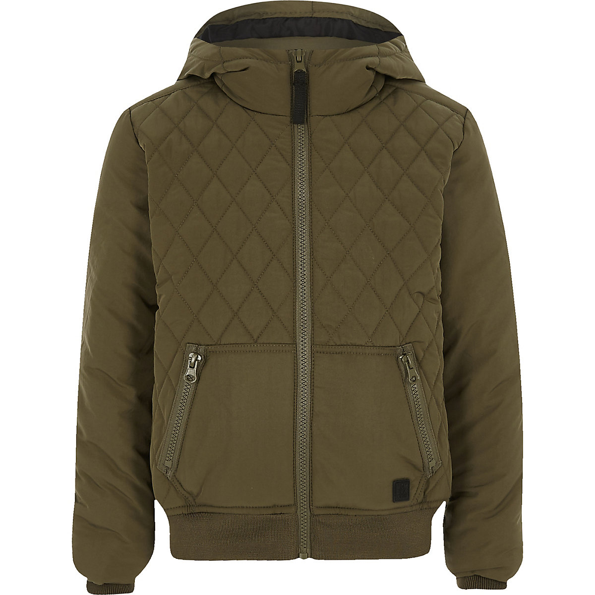 Boys khaki green diamond quilted jacket