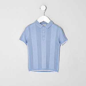 Mini - Blauw RI-poloshirt met brede ribbels voor jongens