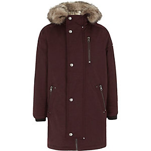 Boys dark red faux fur lined parka