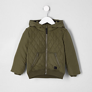 Mini boys khaki green diamond quilted jacket
