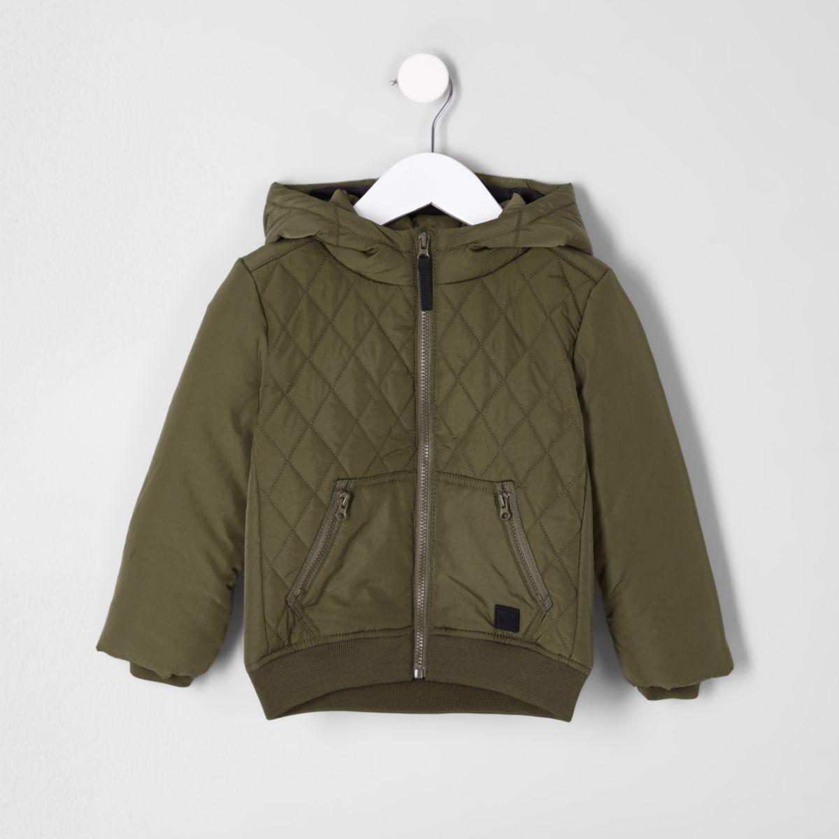 Mini boys khaki green diamond quilted jacket