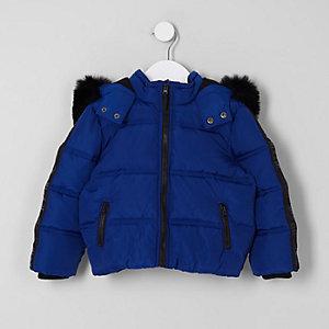 Blauer, wattierter Mantel mit Kapuze und Kunstfell