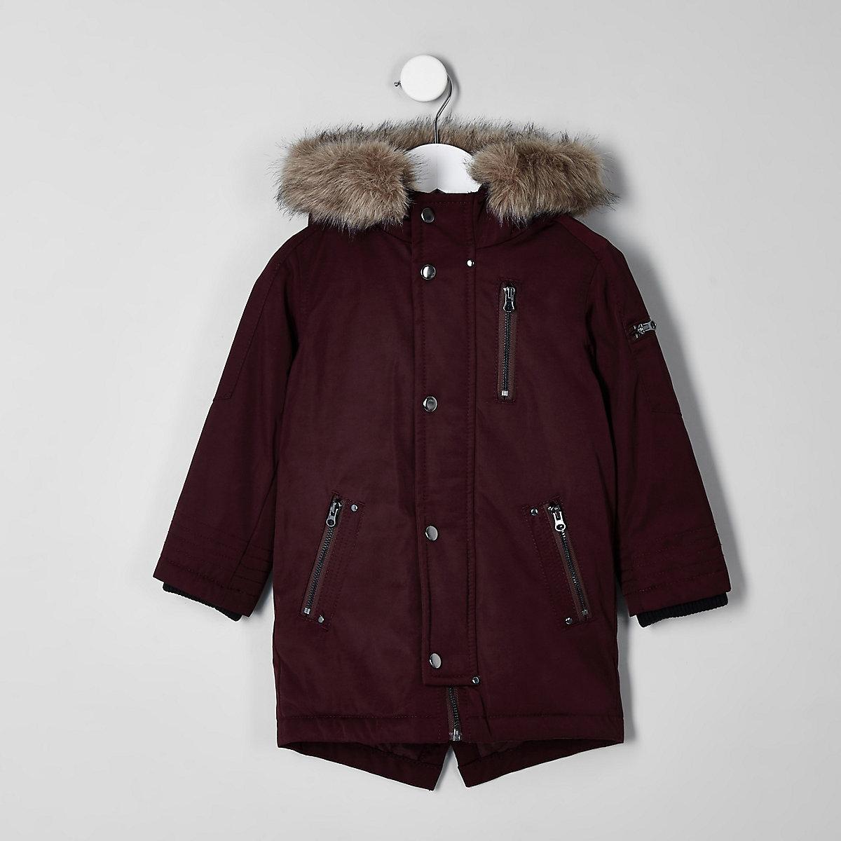 Mini boys luxe dark red faux fur hooded parka