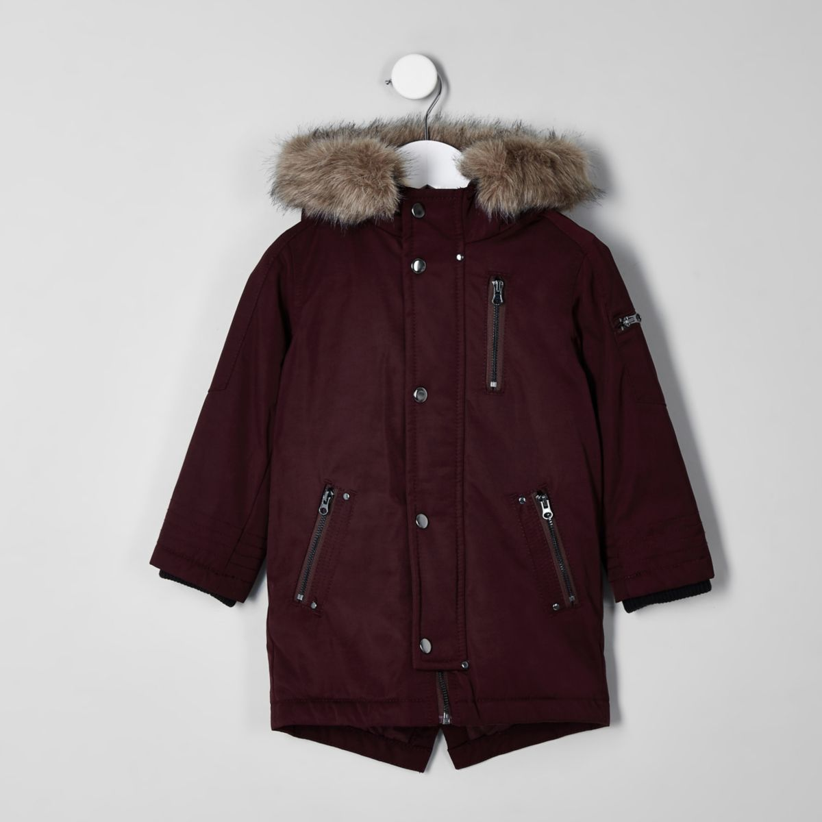 Mini boys dark red faux fur hooded parka
