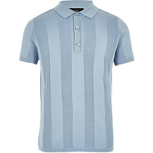 Boys RI blue wide ribbed polo shirt