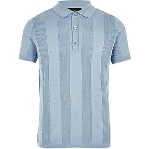 Blauw RI-poloshirt met brede ribbels voor jongens