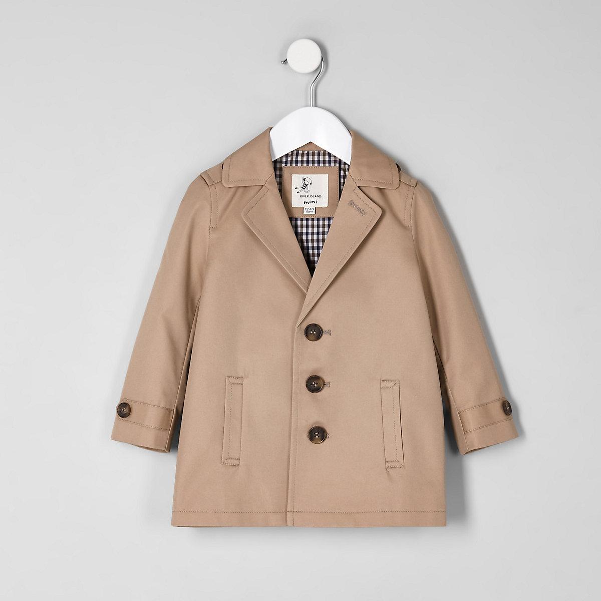 Mini boys brown lined lightweight jacket