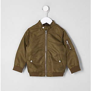 Mini boys khaki racer neck bomber jacket