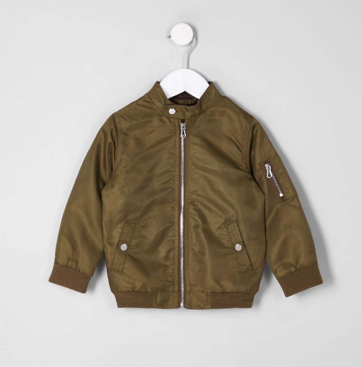 Mini boys khaki racer neck bomber jacket