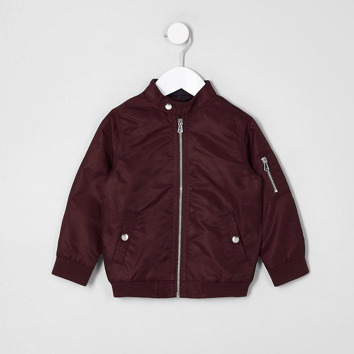 Mini boys dark red racer neck bomber jacket