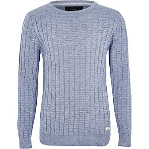 Boys blue rib rolled crew neck sweater