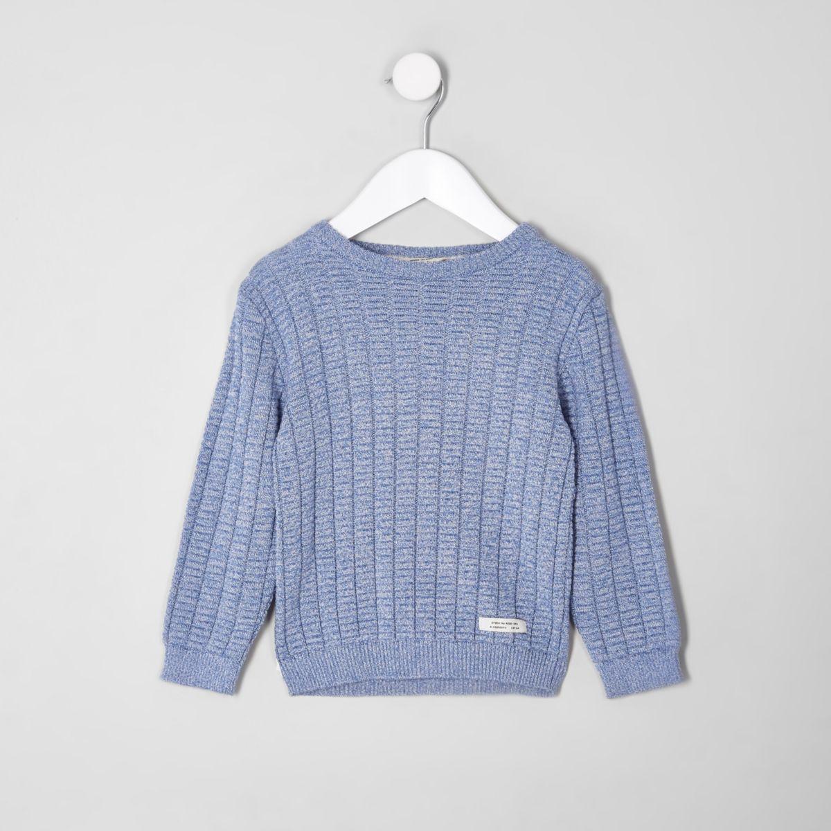 Mini boys blue rib rolled crew neck sweater