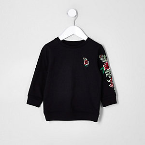 Mini boys black rose embroidered sweatshirt