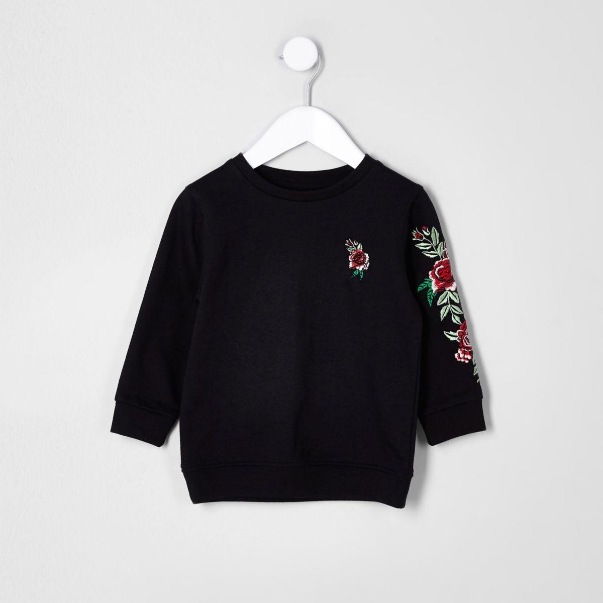 Mini boys black rose embroidered sweatshirt