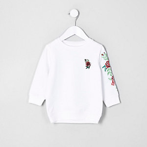 Mini girls white rose embroidered sweatshirt