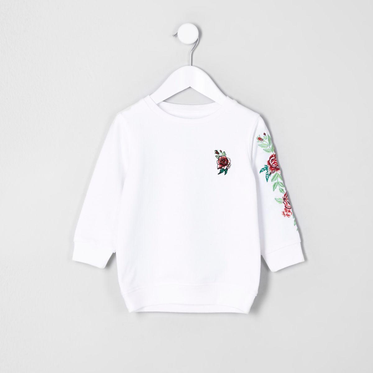 Mini kids white rose embroidered sweatshirt