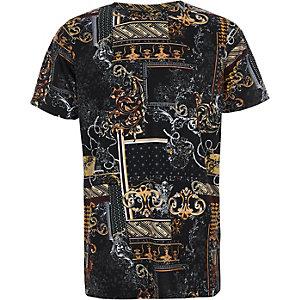 Zwart T-shirt met barokke print en ronde hals voor jongens