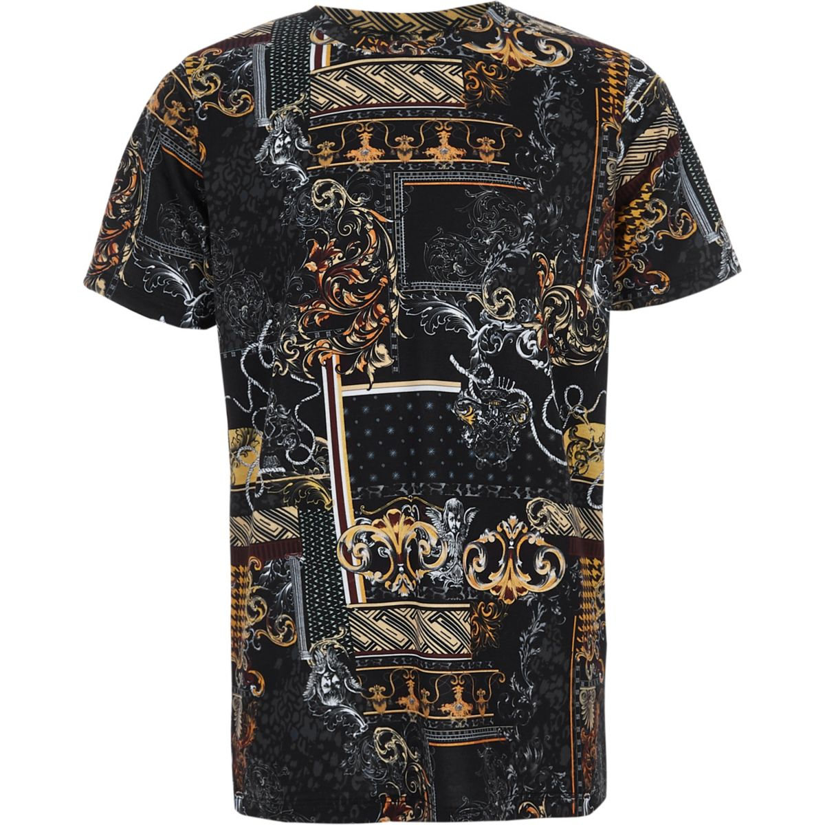 Boys black baroque print crew neck T-shirt