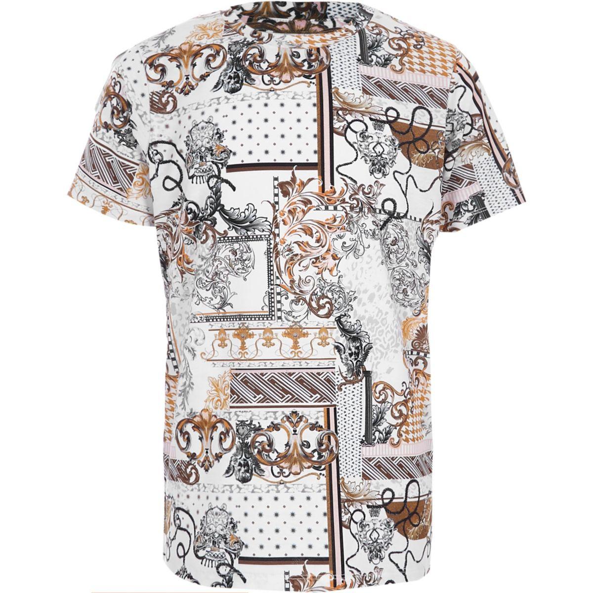 Boys white baroque print crew neck T-shirt