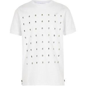 Wit T-shirt met studs en doodshoofdprint voor jongens