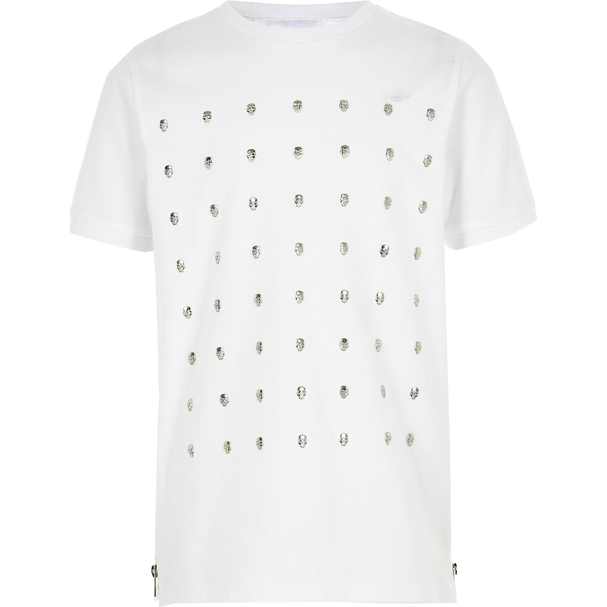 Boys white skull studded T-shirt