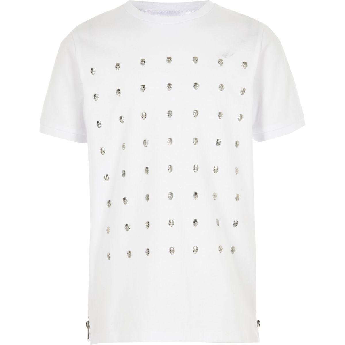 Boys white skull studded T-shirt