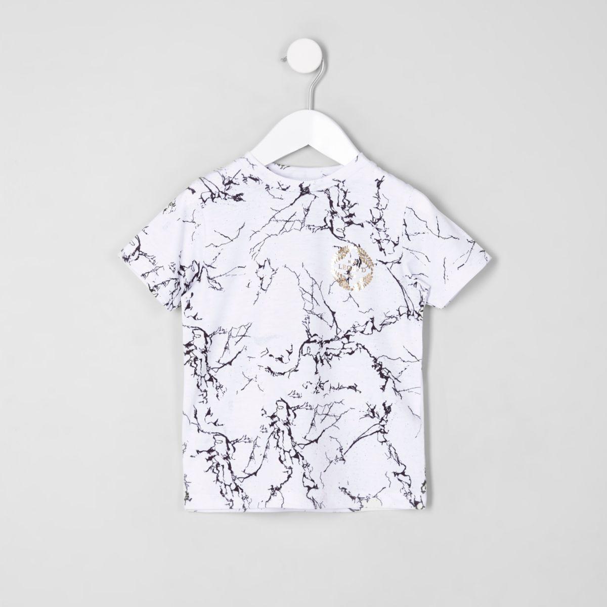 Mini boys white marble print T-shirt