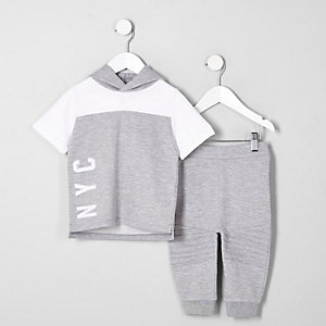 Mini boys grey marl hoodie joggers outfit